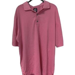 FootJoy Striped Pink Golf Polo Shirt Size Large
